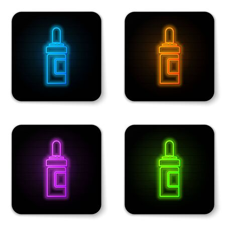 Glowing neon Beard and mustaches care oil bottle icon isolated on white background. Glass bottle with pipette. Black square button. Vector Illustration