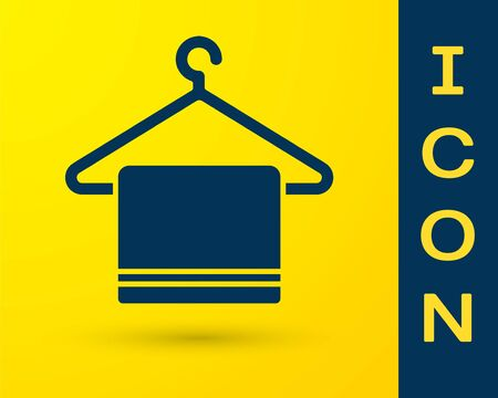 Blue Towel on a hanger icon isolated on yellow background. Bathroom towel icon. Vector Illustration
