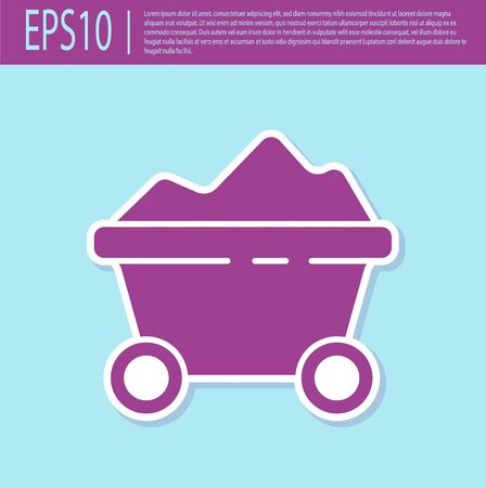 Retro purple Coal mine trolley icon isolated on turquoise background. Factory coal mine trolley. Vector Illustration