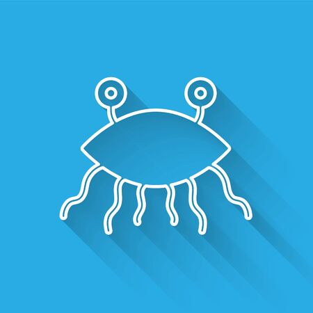 White line Pastafarianism icon isolated with long shadow. Vector Illustration
