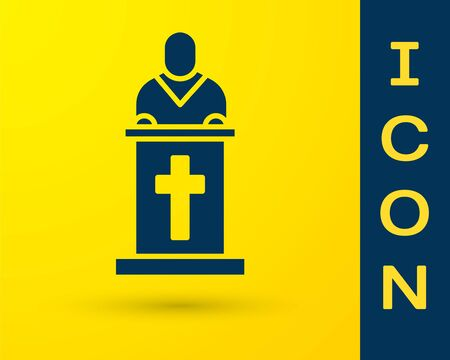 Blue Church pastor preaching icon isolated on yellow background. Vector Illustration