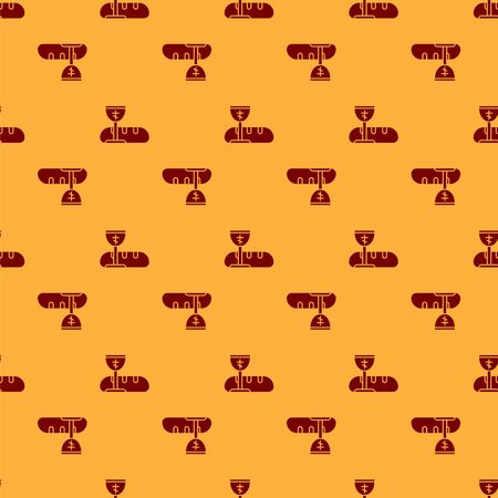 Red First communion symbols for a nice invitation icon isolated seamless pattern on brown background. Vector Illustration