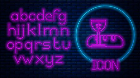 Glowing neon First communion symbols for a nice invitation icon isolated on brick wall background. Neon light alphabet. Vector Illustration