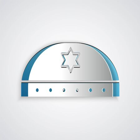 Paper cut Jewish kippah with star of david icon isolated on grey background. Jewish yarmulke hat. Paper art style. Vector Illustration