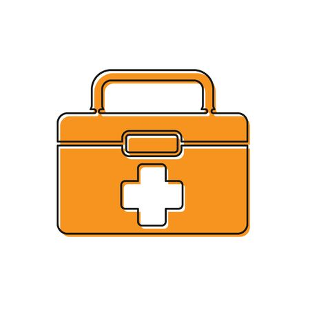 Orange First aid kit icon isolated on white background. Medical box with cross. Medical equipment for emergency. Healthcare concept. Vector Illustration Ilustracja