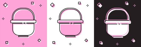 Set Camping pot icon isolated on pink and white, black background. Boil or stew food symbol. Vector Illustration