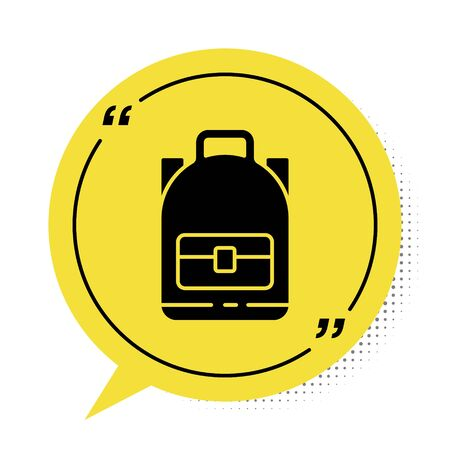 Black Hiking backpack icon isolated on white background. Camping and mountain exploring backpack. Yellow speech bubble symbol. Vector Illustration