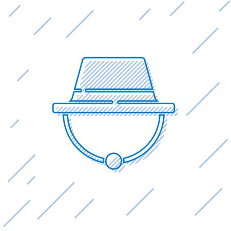 Blue line Camping hat icon isolated on white background. Beach hat panama. Explorer travelers hat for hunting, hiking, tourism. Vector Illustration