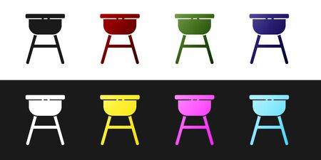 Set Barbecue grill icon isolated on black and white background. BBQ grill party. Vector Illustration