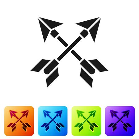 Black Crossed arrows icon isolated on white background. Set icons in color square buttons. Vector Illustration Çizim