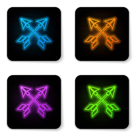 Glowing neon Crossed arrows icon isolated on white background. Black square button. Vector Illustration