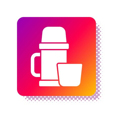 White container and cup icon isolated on white background. Thermo flask icon. Camping and hiking equipment. Square color button. Vector Illustration