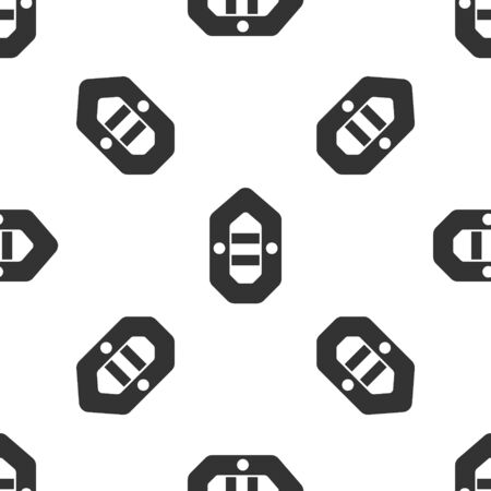 Grey Rafting boat icon isolated seamless pattern on white background. Inflatable boat. Water sports, extreme sports, holiday, vacation. Vector Illustration Ilustrace