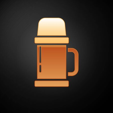 Gold container icon isolated on black background. Thermo flask icon. Camping and hiking equipment. Vector Illustration 向量圖像
