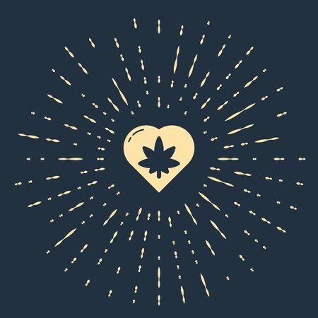Beige Marijuana leaf in heart shape icon isolated on blue background. Hemp symbol. Abstract circle random dots. Vector Illustration Illustration