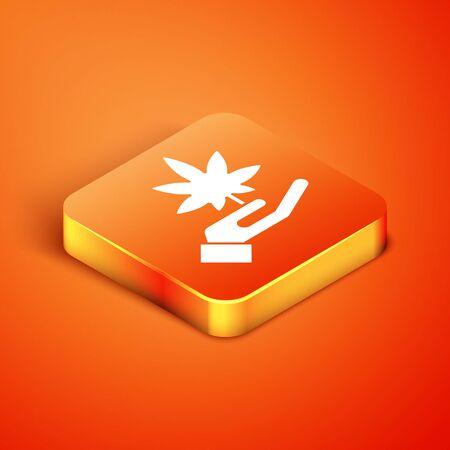 Isometric Medical marijuana or cannabis leaf icon isolated on orange background. Hemp symbol. Vector Illustration