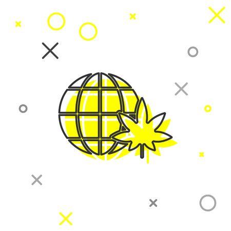 Grey line Legalize marijuana or cannabis globe symbol icon isolated on white background. Hemp symbol. Vector Illustration Çizim