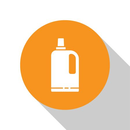 White Fabric softener icon isolated on white background. Liquid laundry detergent, conditioner, cleaning agent, bleach. Orange circle button. Vector Illustration 向量圖像