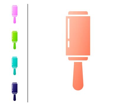 Coral Adhesive roller for cleaning clothes icon isolated on white background. Getting rid of debris, dust, hair, fluff, pet wool. Set color icons. Vector Illustration 向量圖像