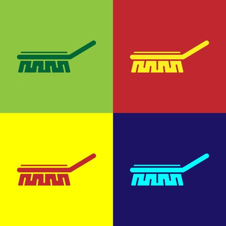 Pop art Brush for cleaning icon isolated on color background. Cleaning service concept. Vector Illustration 向量圖像