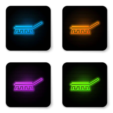 Glowing neon Brush for cleaning icon isolated on white background. Cleaning service concept. Black square button. Vector Illustration