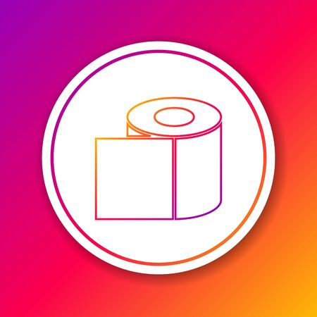 Color line Toilet paper roll icon isolated on color background. Circle white button. Vector Illustration