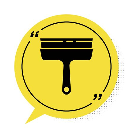 Black Cleaning service with of rubber cleaner for windows icon isolated on white background. Squeegee, scraper, wiper. Yellow speech bubble symbol. Vector Illustration