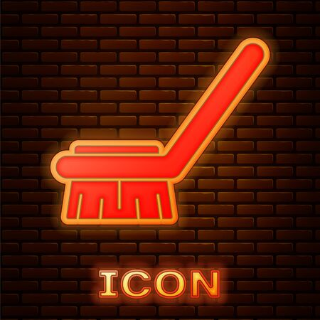 Glowing neon Brush for cleaning icon isolated on brick wall background. Cleaning service concept. Vector Illustration 向量圖像