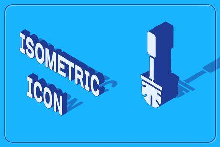 Isometric Toilet brush icon isolated on blue background. Vector Illustration