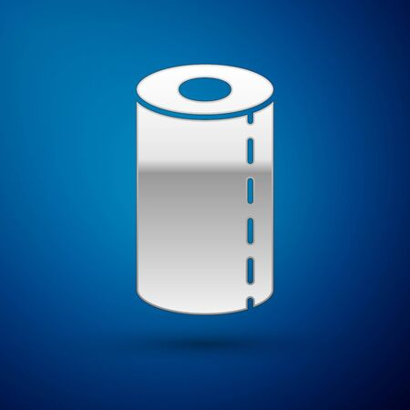 Silver Paper towel roll icon isolated on blue background. Vector Illustration