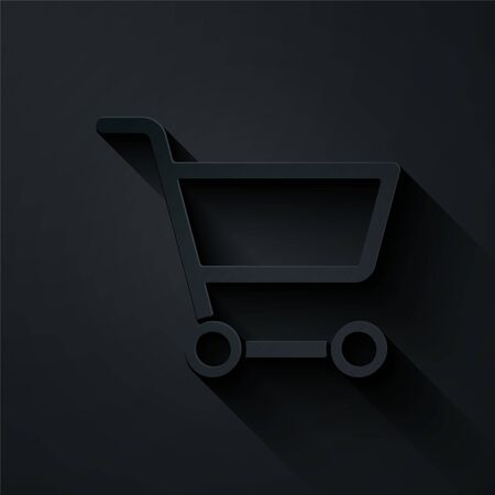 Paper cut Shopping cart icon isolated on black background. Online buying concept. Delivery service sign. Supermarket basket symbol. Paper art style. Vector Illustration