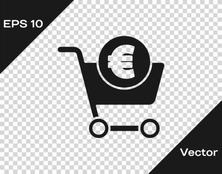 Black Shopping cart and euro symbol icon isolated on transparent background. Online buying concept. Delivery service. Shopping cart. Vector Illustration