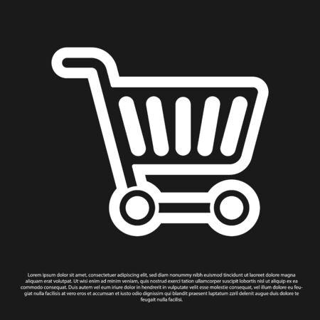 Black Shopping cart icon isolated on black background. Online buying concept. Delivery service sign. Supermarket basket symbol. Vector Illustration