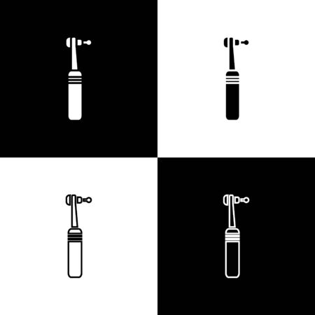 Set Tooth drill icon isolated on black and white background. Dental handpiece for drilling and grinding tools. Medical instrument. Vector Illustration