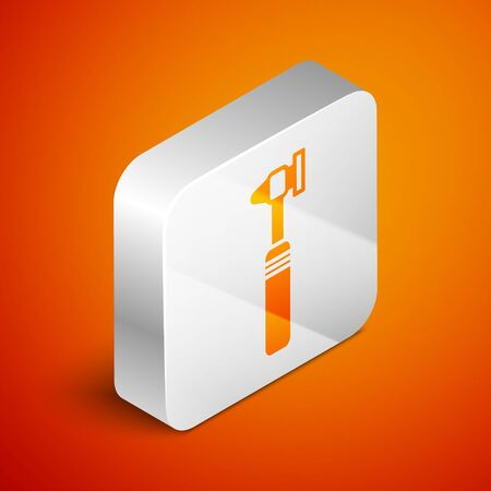 Isometric Medical otoscope tool icon isolated on orange background. Medical instrument. Silver square button. Vector Illustration