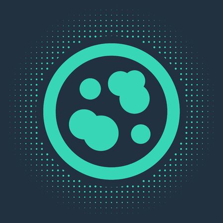 Green Petri dish with bacteria icon isolated on blue background. Abstract circle random dots. Vector Illustration