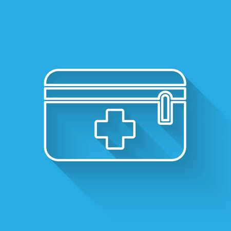 White line First aid kit icon isolated with long shadow. Medical box with cross. Medical equipment for emergency. Healthcare concept. Vector Illustration Vettoriali