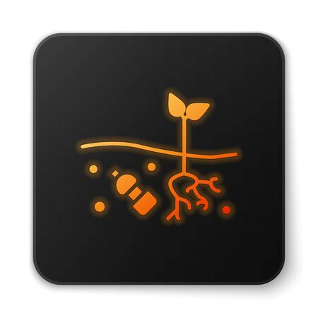 Orange glowing neon The problem of pollution of the planet icon isolated on white background. The garbage, plastic, bags on the planet. Black square button. Vector Illustration Ilustrace