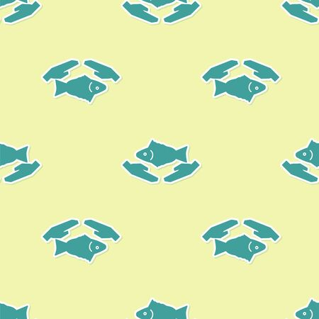 Green Fish care icon isolated seamless pattern on yellow background. Vector Illustration 向量圖像