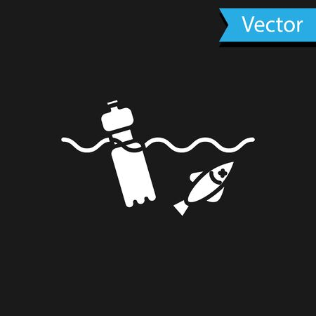 White The problem of pollution of the ocean icon isolated on black background. The garbage, plastic, bags on the sea. Vector Illustration Illustration