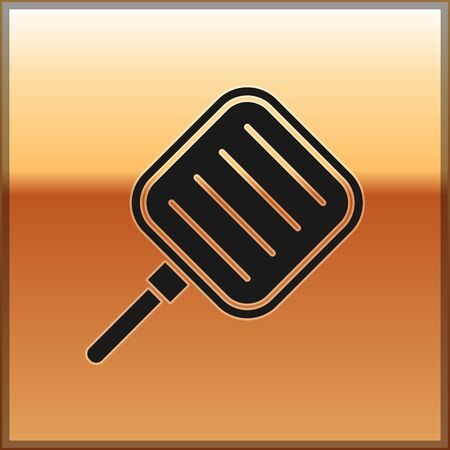 Black Frying pan icon isolated on gold background. Fry or roast food symbol. Vector Illustration
