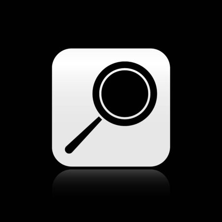 Black Frying pan icon isolated on black background. Fry or roast food symbol. Silver square button. Vector Illustration