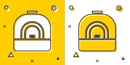 Black Oven icon isolated on yellow and white background. Stove gas oven sign. Random dynamic shapes. Vector Illustration Ilustração