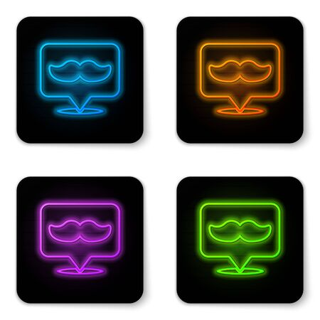 Glowing neon Barbershop icon isolated on white background. Hairdresser signboard. Black square button. Vector Illustration