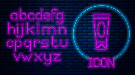 Glowing neon Cream or lotion cosmetic tube icon isolated on brick wall background. Body care products for men. Neon light alphabet. Vector