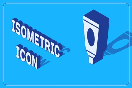 Isometric Cream or lotion cosmetic tube icon isolated on blue background. Body care products for men. Vector