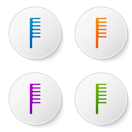 Color Hairbrush icon isolated on white background. Comb hair sign. Barber symbol. Set icons in circle buttons. Vector