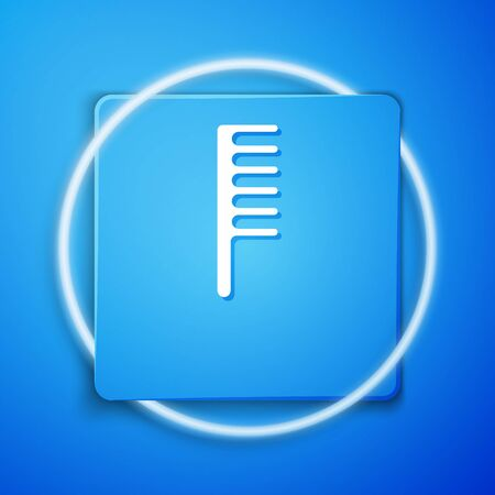 White Hairbrush icon isolated on blue background. Comb hair sign. Barber symbol. Blue square button. Vector