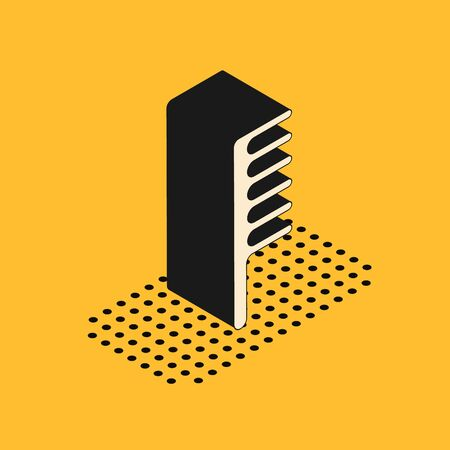 Isometric Hairbrush icon isolated on yellow background. Comb hair sign. Barber symbol. Vector