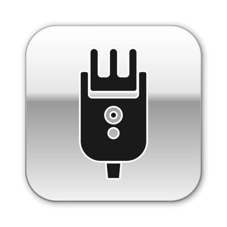 Black Electrical hair clipper or shaver icon isolated on white background. Barbershop symbol. Silver square button. Vector Illustration
